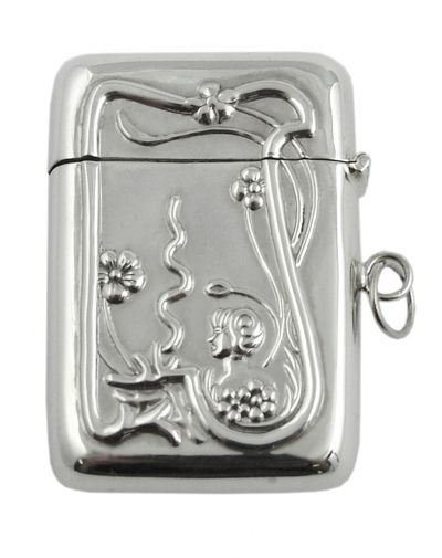 Locket - VESTA CASE - Ari D Norman - Sterling Silver. An elegant Nouveau design graces this sterling silver vesta case. The pendant lid snaps shut to keep precious treasures safe inside. Originally Vesta Cases, or matchsafes, were used to keep matches or vestas dry and stop them from rubbing together and starting fires. Vesta Cases were mainly produced from 1890 – 1920