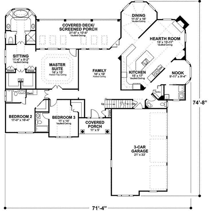 78 best house plans images on pinterest front elevation Floor Plan 2500 Sq Ft House southern style house plan 3 beds baths 2461 sq ft plan floor plan would require major changes but bedroom wing has great potential rework it floor plan 500 sq ft house