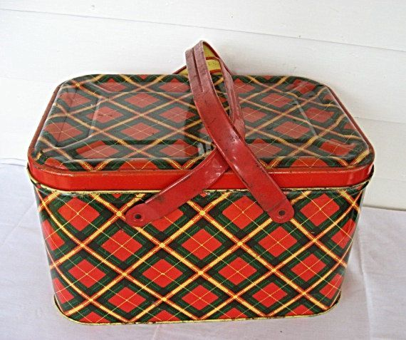 1950's Tin Picnic Basket Storage Tin Box  Container Red Green Yellow Plaid Double Handles