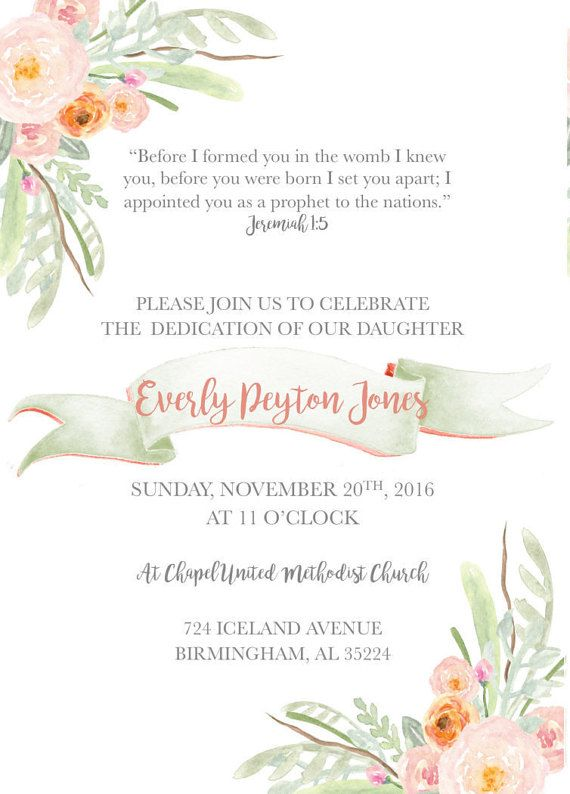 Vintage Floral Baby Dedication/ Baby Baptism/ Baby Christening invitation on Etsy