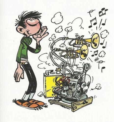 Piston engine, Gaston Lagaffe by Franquin #rareandstrangeinstruments #bd  #instruments #music