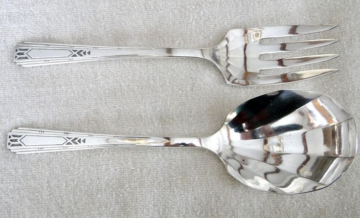 Old Tudor Plate FRIENDSHIP aka MEDALITY pattern Casserole Spoon and Cold Meat Serving Fork -Vintage 1932-Art Deco Southwestern Design by TheCalamityHouse on Etsy
