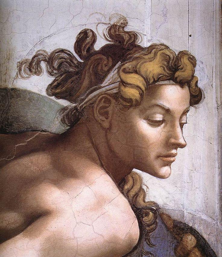 Ignudo (detail) 1509  Cappella Sistina, Vatican City, Vatican  Painting, Fresco,  Michelangelo Buonarroti