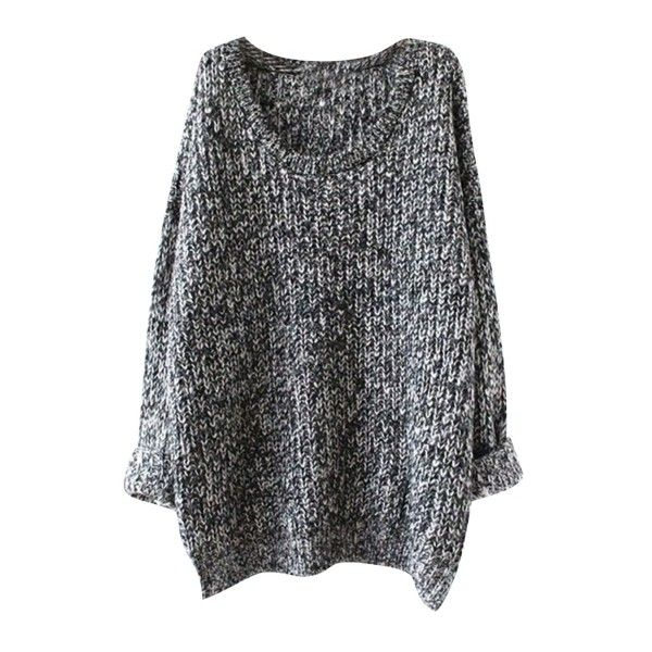 Oversized Scoop Neck Loose Fit Chunky Knit Sweater (£21) ❤ liked on Polyvore featuring tops, sweaters, loose sweaters, round neck sweater, loose long sleeve tops, loose tops and over sized sweaters