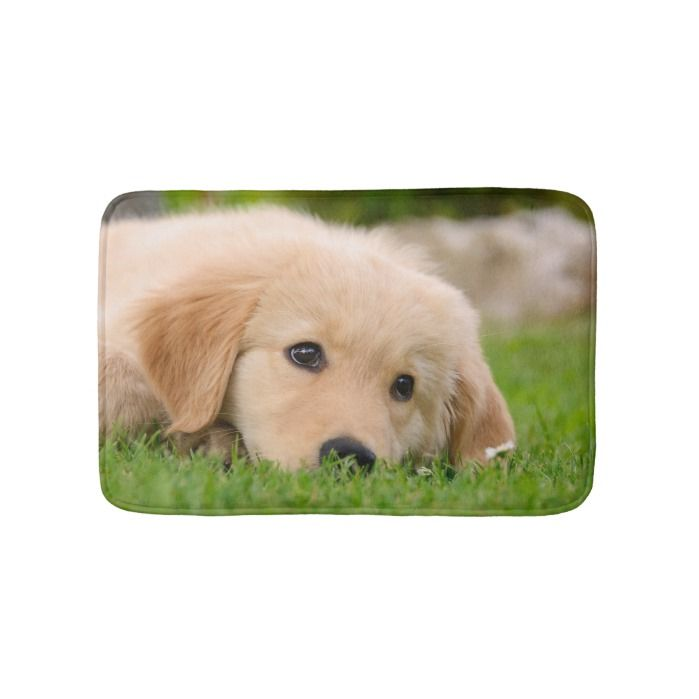 Golden Retriever Cute Puppy Dreaming Meadow Small Bath Mat Cute