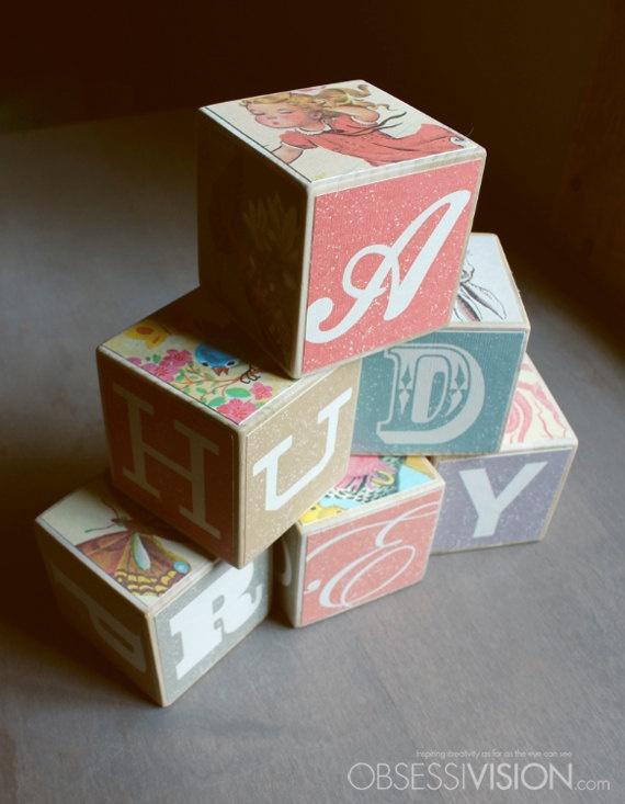 Baby Blocks Set Of 6 Custom Made Wood Blocks Vintage