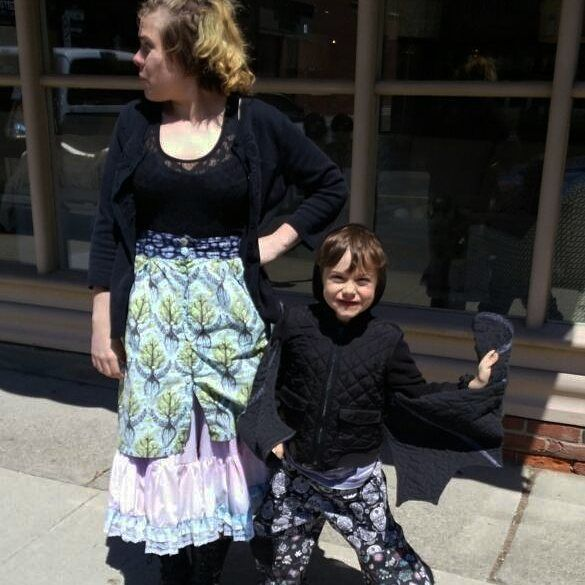 Me Made May Bat Dae Edition: look at this cutie! My kids love to dress up. I made this bat sweater for Dae 2 years ago. He also has an owl coat. I'm wearing a Kelly skirt and tie dyed petticoat pants. #memademay #mmmay16 #memade #kellyskirt by epfooo