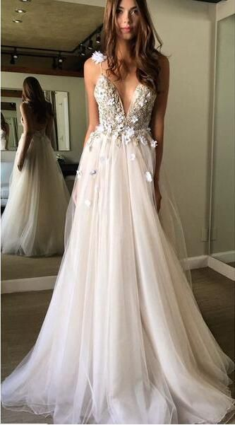 Floral Prom Dresses,Open Back Prom Dress,Deep V-neck Prom Dresses,Straps Formal …