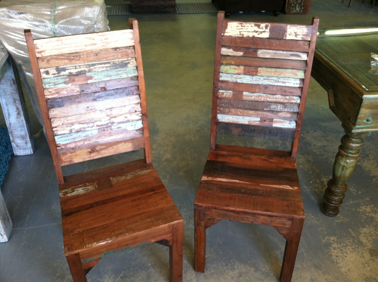 Solid Wood Dining Chairs With Louvered Back Detail.