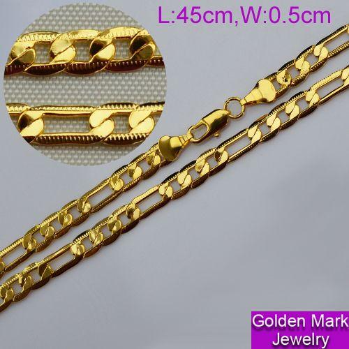 Позолота цепь 45 см, 18 k позолота ожерелье для женщины мужчины, Свадьба, Юбилей, День святого валентина, Свадебные подарки # 410293