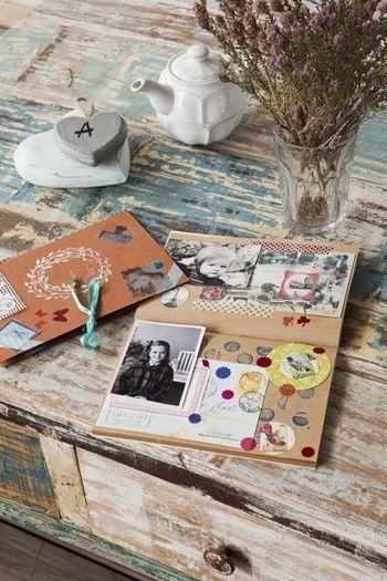 思い出の整理に。プレゼントに。将来、子供達に残したい方にもオススメの、手作りアルバム。お気に入りの写真や素材を貼っていく作業は、ヒーリング効果もあるそうです。
