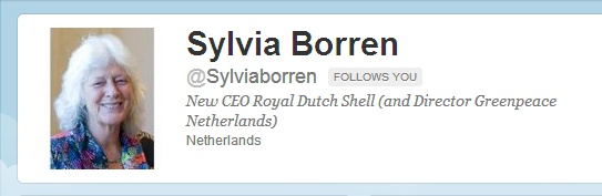 Sylvia Borren, Executive Director of Greenpeace Netherlands, occupied the office of Royal Dutch Shell CEO Peter Voser on July 13, 2012, symbolically taking over to stop Shell's plans to drill for oil in the Arctic.