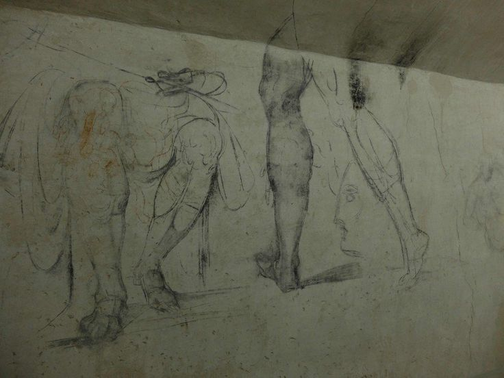 Michelangelo drawings on the walls of the underground room of the Medici chapels in Florence.