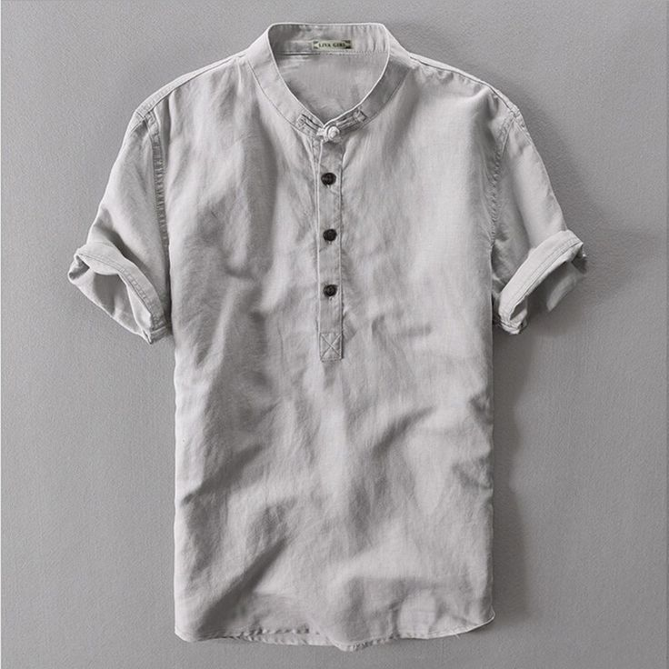 Grey Navy White Flax Summer Loose Male Casual Linen Shirt Men Short Sleeve Traditional Chinese Mandarin Collar Shirt For Men