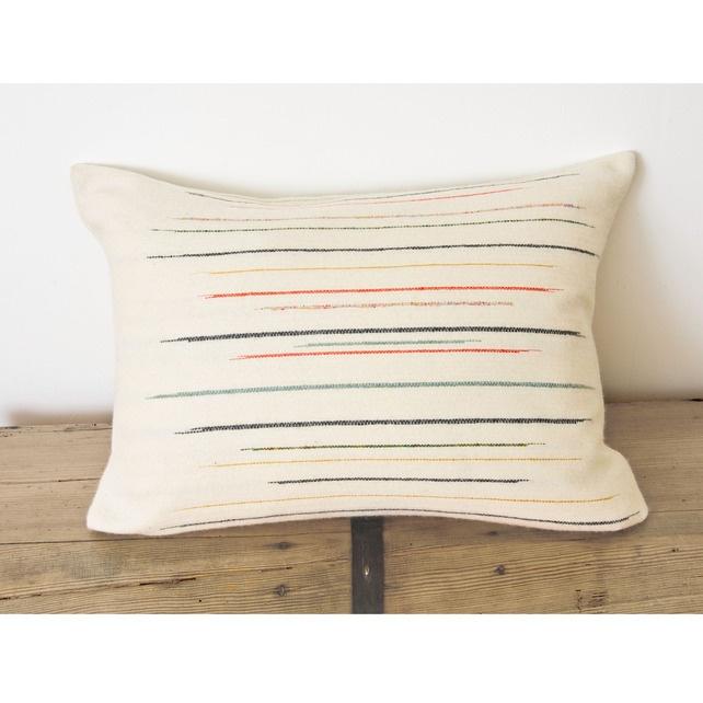 Chalkney stripe cushion ~ Laura Fletcher Textiles