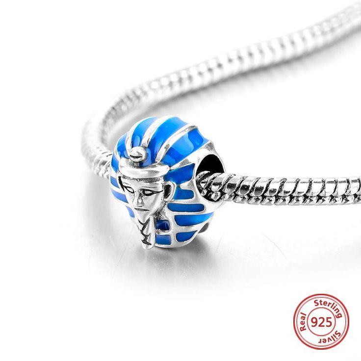 Sfinge Egizia con smalto blu bead charm 100% argento sterling 925 adatta misure Pandora charm Pandora bead e Braccialetto europeo di OceanBijoux su Etsy