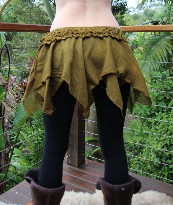 Tatty TuTu Crochet Faery Handkerchief Skirt Golden by Wyldeskye, $97.00