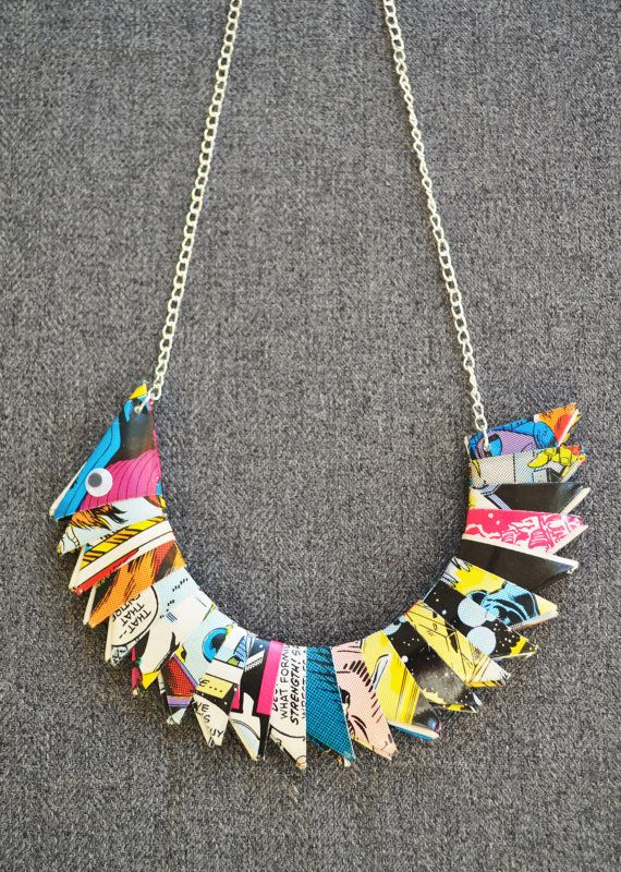 Colourful origami ladies necklace. Handmade from recycled comics