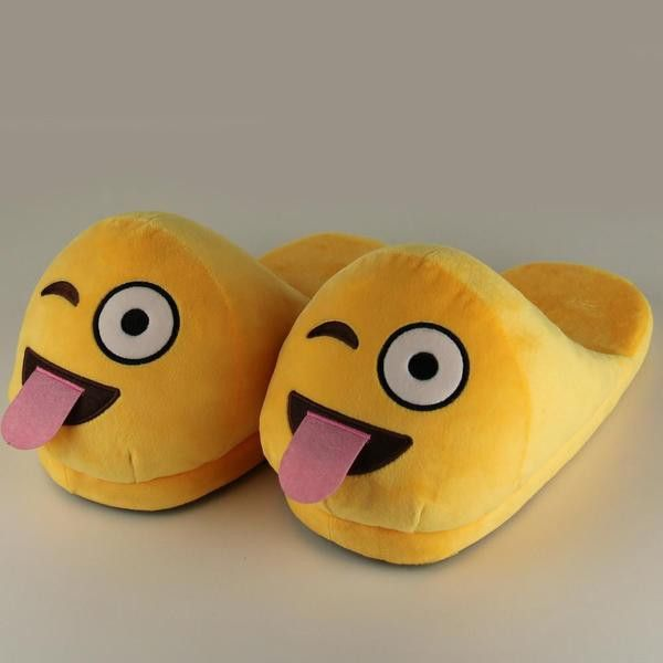 Winking Emoji  Slip-On Adult Slippers