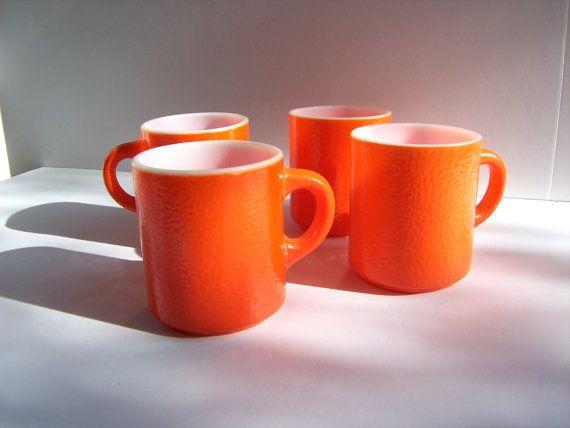 vintage orange mugs glassbake set of 4