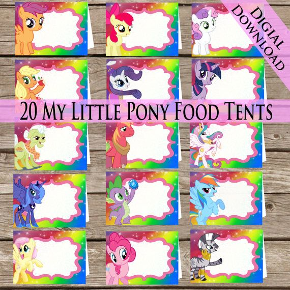 20 My Little Pony Food tents Digital Download 20 by ClipArt911