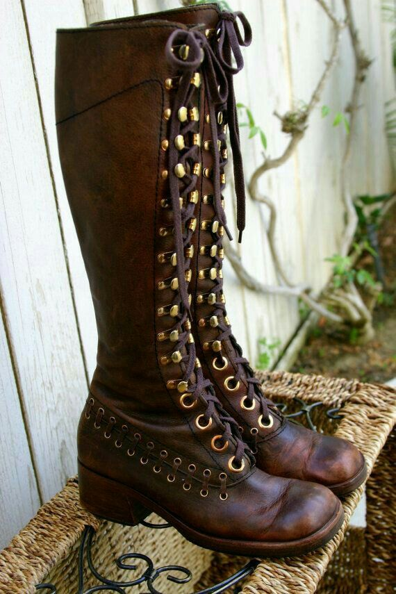 Tank Girl inspired tall leather boots