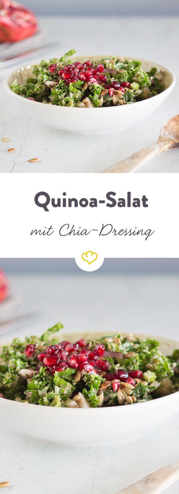 In Kombination mit Limette und Senf bilden Chia-Samen ein herrlich leichtes Dressing, das hervorragend zu Quinoa, Grünkohl und Granatapfelkernen passt.