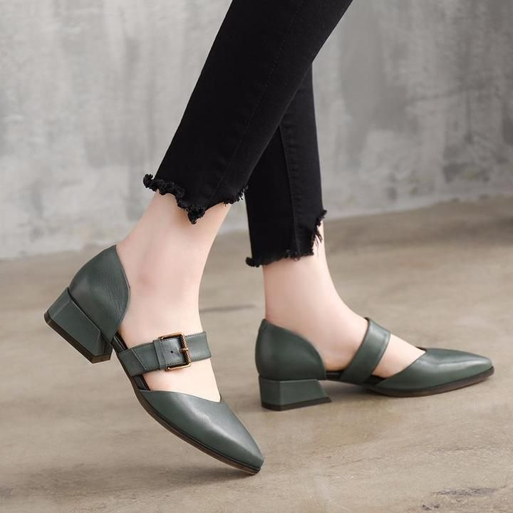 Summer Leather Mid Heels Coffee Sandals Women Shoes X1162 #SandalsHeels  #Coffe #shoes #womenshoes