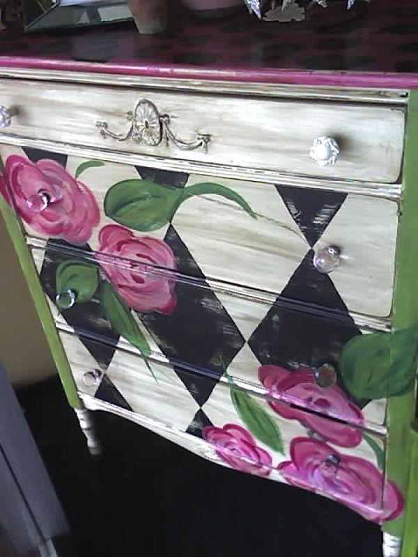 Painted Dresser . Harlequin . Floral . luckypeachdesigns.shutterfly.com