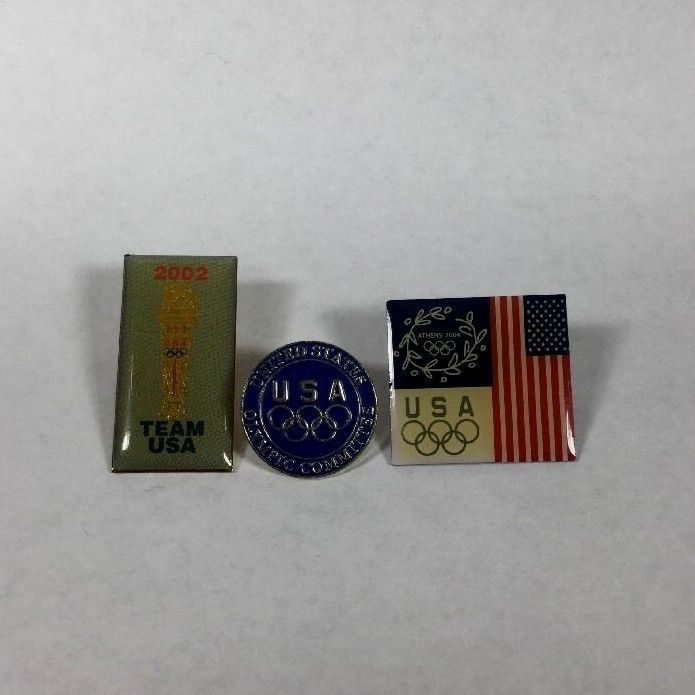 Lot of 3 Olympics Collector Lapel Pins Olympic Committee Team USA 2002 2004 GC #Unbranded #LapelPinBackswButterflyClutch #USA