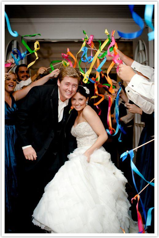 wedding ribbons instead of roses petals