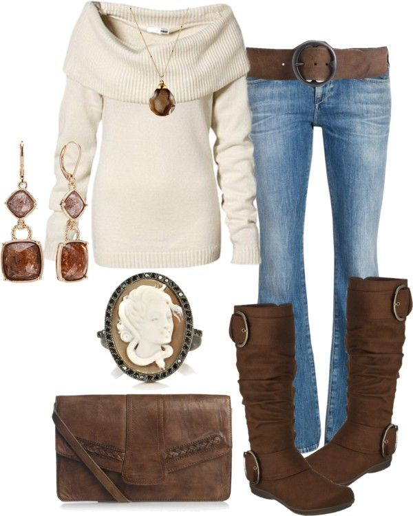 Chocolate and Cozy! Love the sweater Jeans and Earrings the most!
