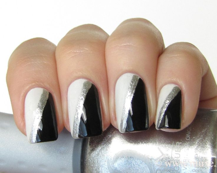 Black And Silver Nail Art Nail Art Designs Ideas Black And White Nail Art Silver Nails Trendy Nails