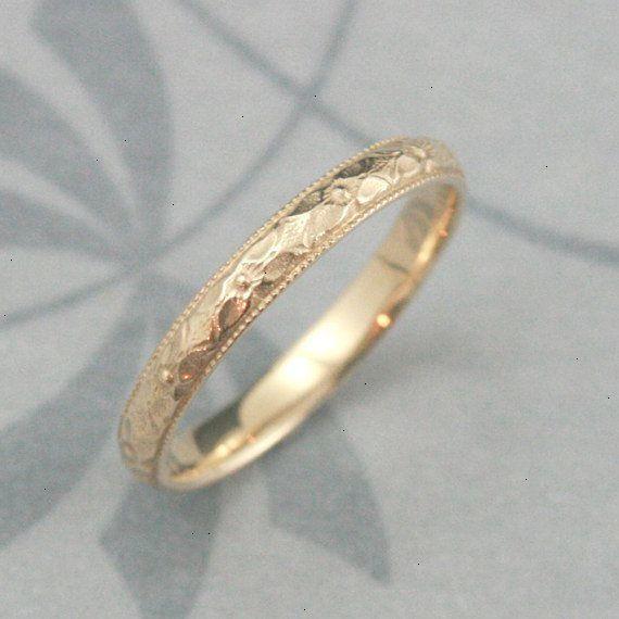 Solid 14k Gold Renaissance Wedding Band Cast In Solid 14k Gold Vintage Style Pattern With Mil Vintage Style Rings Antique Wedding Rings Wedding Rings Vintage