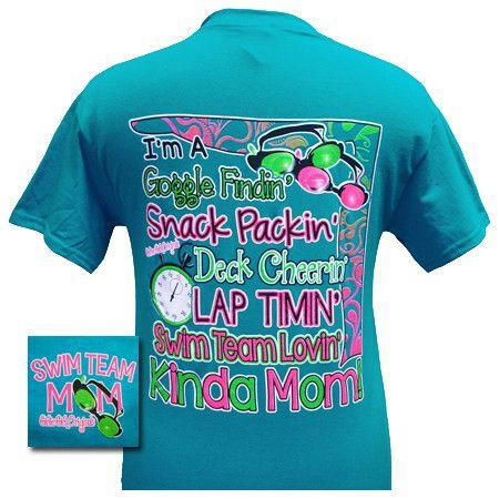 Girlie Girl Originals Swim Team Mom Tropical Blue Bright T Shirt