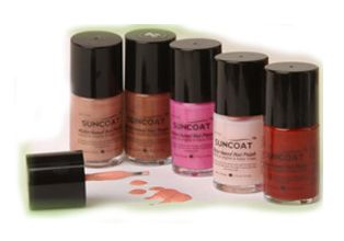 Suncoat nail polish - This water-based nail polish has no formaldehyde, toluene, phthalates, acetone, acetates, alcohol, or FD colours. Unlike regular polish, it doesn't give off fumes when you open the bottle. And the polish dries quickly.