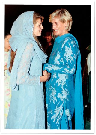 Princess Diana with her friend Jemima Khan, on a visit to young cancer patients at a hospital in Pakistan, 1997.