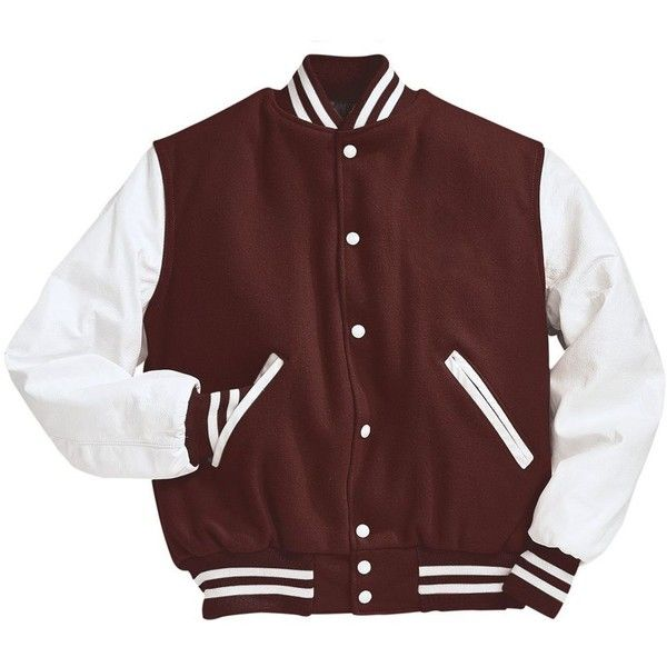 Maroon and White Varsity Letterman Jacket ❤ liked on Polyvore featuring outerwear, jackets, maroon jacket, varsity style jacket, leather sleeve jacket, letterman jackets and teddy jacket