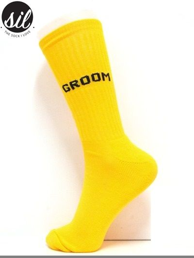 Socks for the Groom. Canary Yellow sock with Black wording.  #socksforafrica #thesockilove #sil