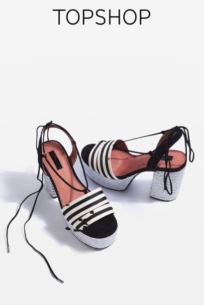The espadrilles come updated for the new season – this cool style features a monochrome striped toe strap and a high platform heels. Finished with ankle strap fastening for a summer-feel.