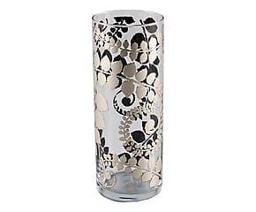 Vaso cilindrico in vetro trasparente Velvet argento - 23x9 cm