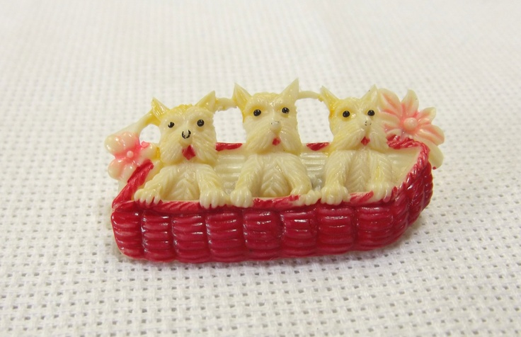 Jewelry Brooch Pin Celluloid, scotty dog