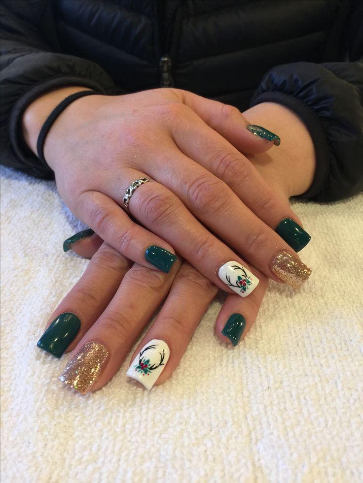 Antler Holiday Holly Nails #Antler #nailart #fall #christmas #holly #nails #glitter #gold #season #winter #green #red #thanksgiving #holiday #holidays #shellac #gelpolish #opi