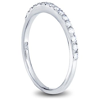 18ct white gold ladies wedding band with claw set round diamonds