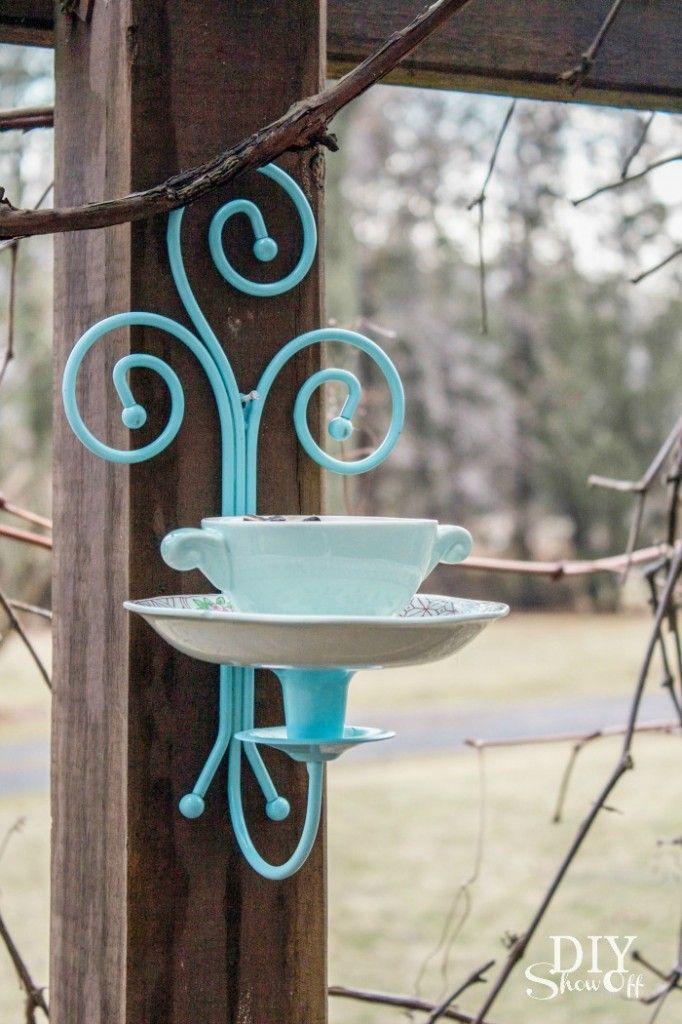 Tea Cup Candle Sconce Bird Feeder Tutorial