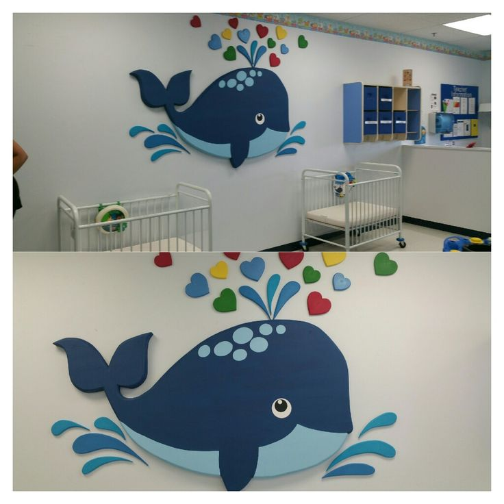Whale made from Styrofoam insulation for baby room