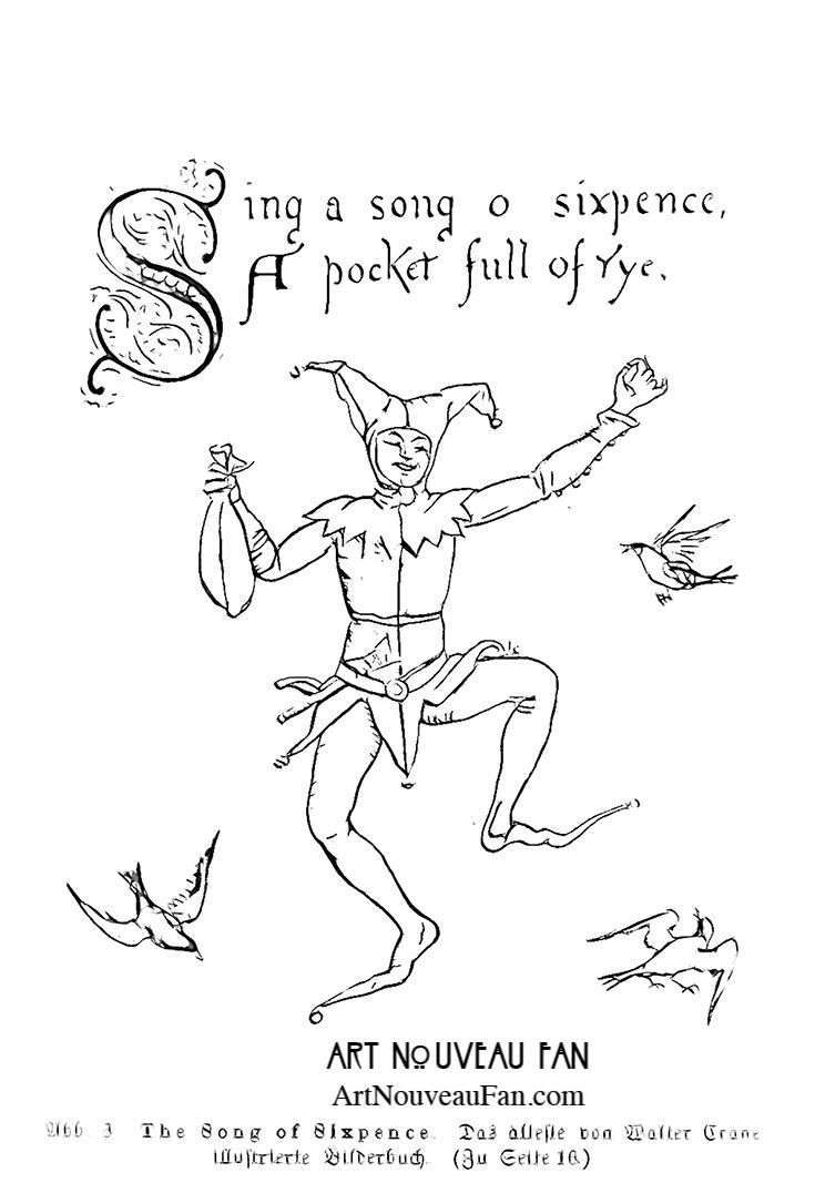 19 best art nouveau coloring book images on pinterest art nouveau colouring sheet for young children and parents alike sing a song of sixpence classic nursery rhyme elegantly depicted by walter crane fandeluxe Images