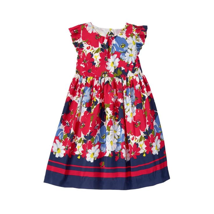 Vibrant floral print and precious flutter sleeves make our darling dress a standout. Striped contrast hem, skirt pleats and tulle underlayer.