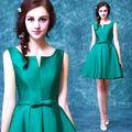 2016 new green bow sexy Sem Alças curtas cocktail vestidos Temperamento Senhora elegante mini vestidos de partido do baile de finalistas do Regresso A Casa Do Vestido