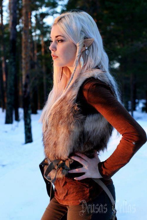 Beautiful, woman, warrior, alf, elf: New Stuff, Elf Ears, Elf Costumes, Cosplay Costumes, Fantasy Character, Elf Cosplay, Costumes Ideas, Winter Dresses, Fur Vest